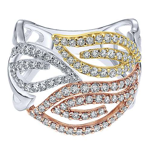 Gabriel - 14k Yellow And White Gold Lusso Diamond Wide Band Ladies' Ring