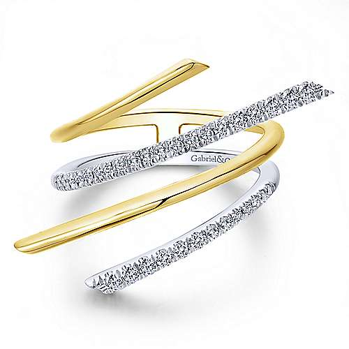 14k Yellow And White Gold Lusso Fashion Ladies' Ring angle 1
