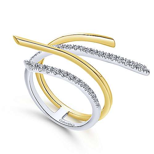 14k Yellow And White Gold Lusso Fashion Ladies' Ring angle 3