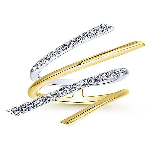 14k Yellow And White Gold Lusso Fashion Ladies' Ring angle 4