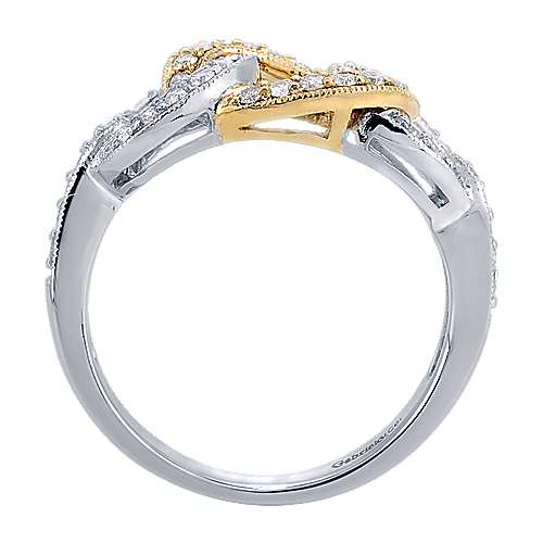 14k Yellow And White Gold Lusso Fashion Ladies' Ring angle 2