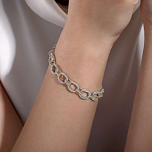14k Yellow And White Gold Lusso Tennis Bracelet angle 3
