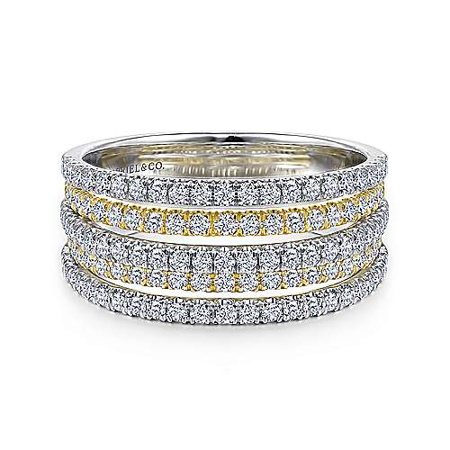 Gabriel - 14k Yellow And White Gold Lusso Wide Band Ladies' Ring