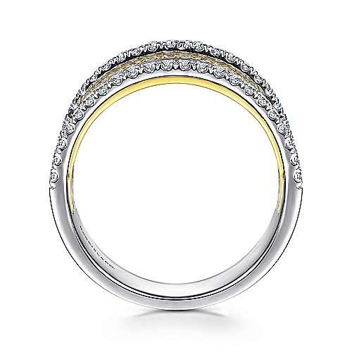 14k Yellow And White Gold Lusso Wide Band Ladies' Ring angle 2