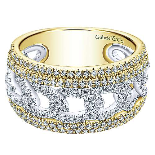 Gabriel - 14k Yellow And White Gold Lusso Wide Band Ladies Ring