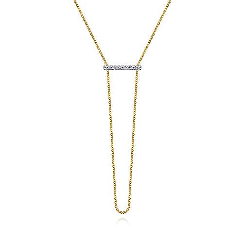 14k Yellow And White Gold Lusso Y Knots Necklace