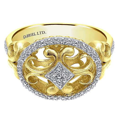 Gabriel - 14k Yellow And White Gold Mediterranean Fashion Ladies' Ring