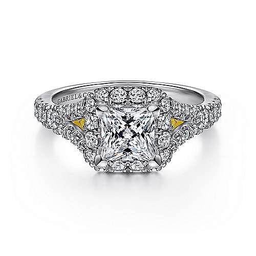 Gabriel - 14k Yellow And White Gold Princess Cut Halo Engagement Ring