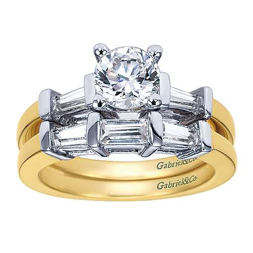14k Yellow And White Gold Round 3 Stones Engagement Ring angle 4