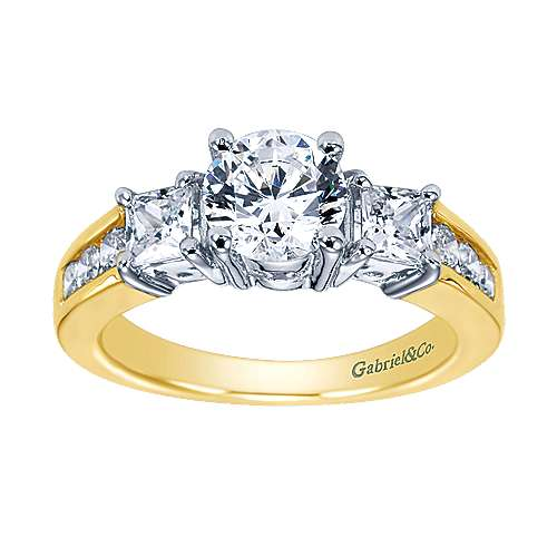 14k Yellow And White Gold Round 3 Stones Engagement Ring angle 5