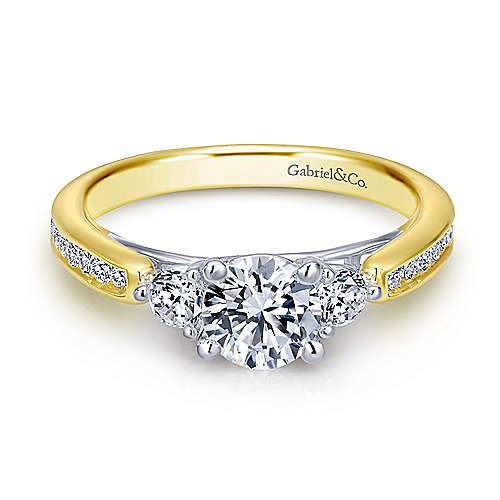 14k Yellow And White Gold Round 3 Stones Engagement Ring angle 1