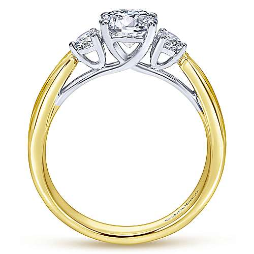 14k Yellow And White Gold Round 3 Stones Engagement Ring angle 2
