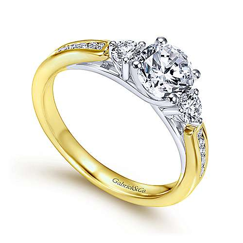 14k Yellow And White Gold Round 3 Stones Engagement Ring angle 3