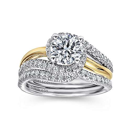 14k Yellow And White Gold Round Bypass Engagement Ring angle 4
