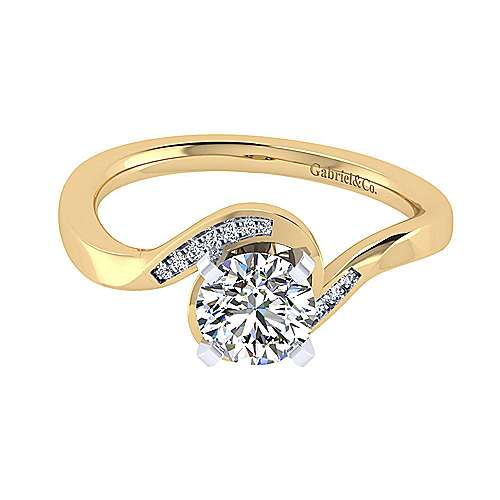 14k Yellow And White Gold Round Bypass Engagement Ring angle 1