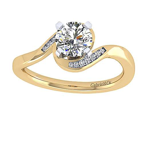 14k Yellow And White Gold Round Bypass Engagement Ring angle 5