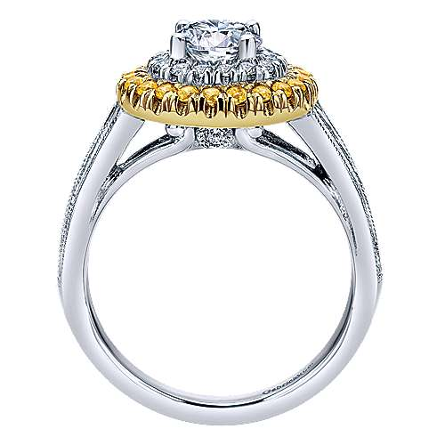 14k Yellow And White Gold Round Double Halo Engagement Ring angle 2