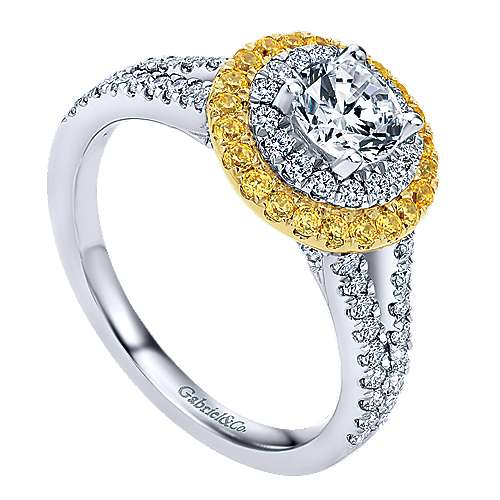 14k Yellow And White Gold Round Double Halo Engagement Ring angle 3