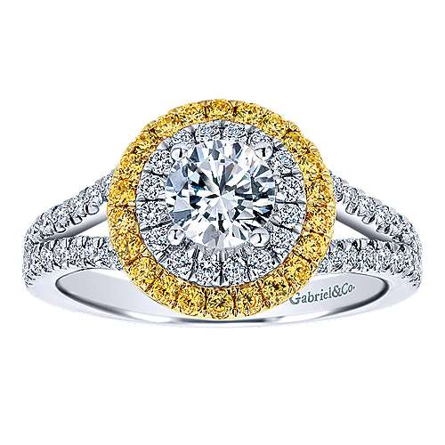 14k Yellow And White Gold Round Double Halo Engagement Ring angle 5