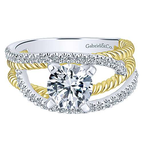 14k Yellow And White Gold Round Free Form Engagement Ring angle 1