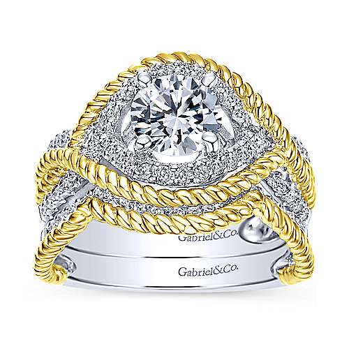 14k Yellow And White Gold Round Free Form Engagement Ring angle 4