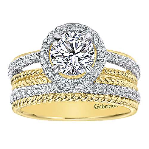 14k Yellow And White Gold Round Halo Engagement Ring angle 4
