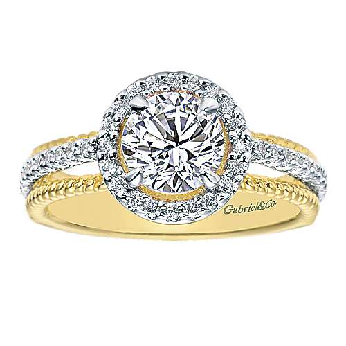 14k Yellow And White Gold Round Halo Engagement Ring angle 5