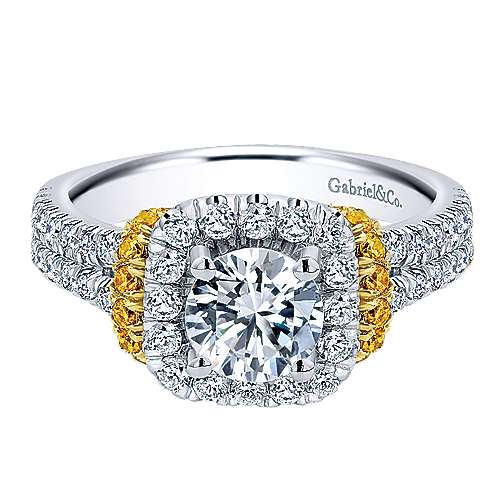 14k Yellow And White Gold Round Halo Engagement Ring angle 1