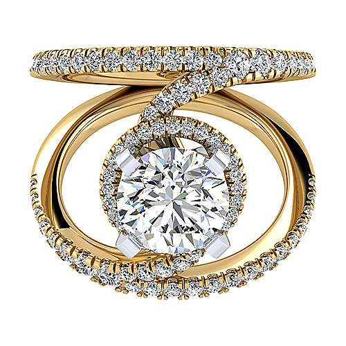 14k Yellow And White Gold Round Split Shank Engagement Ring angle 1