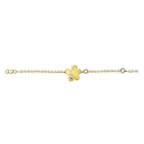 14k Yellow And White Gold Secret Garden Chain Bracelet angle 3