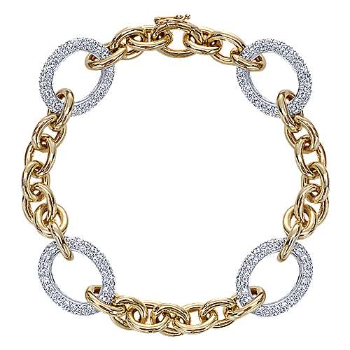14k Yellow And White Gold Silk Chain Bracelet angle 1