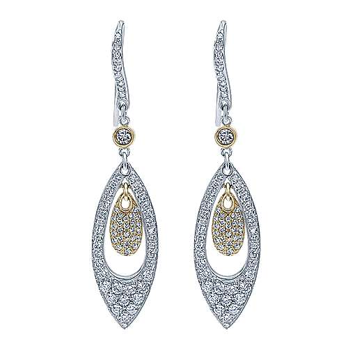 Gabriel - 14k Yellow And White Gold Silk Drop Earrings