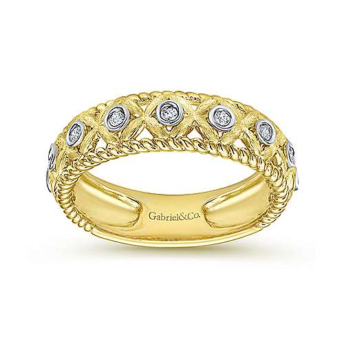 14k Yellow And White Gold Stackable Ladies' Ring angle 4