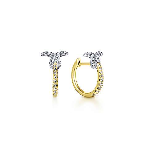 14k Yellow And White Gold Stuggies Huggie Earrings angle 1