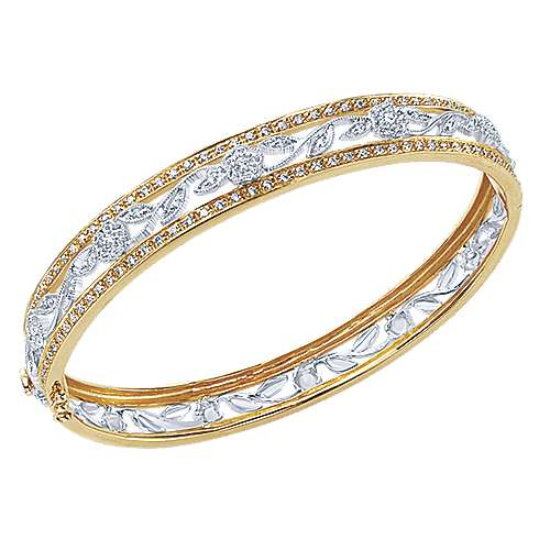 14k Yellow And White Gold Victorian Bangle angle 2