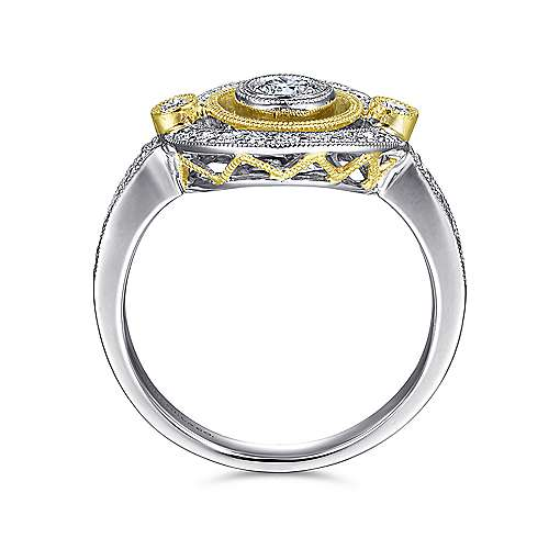 14k Yellow And White Gold Victorian Classic Ladies' Ring angle 2