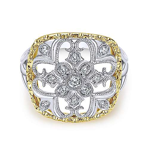 Gabriel - 14k Yellow And White Gold Victorian Fashion Ladies' Ring