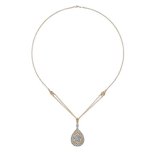 14k Yellow And White Gold Victorian Fashion Necklace angle 2