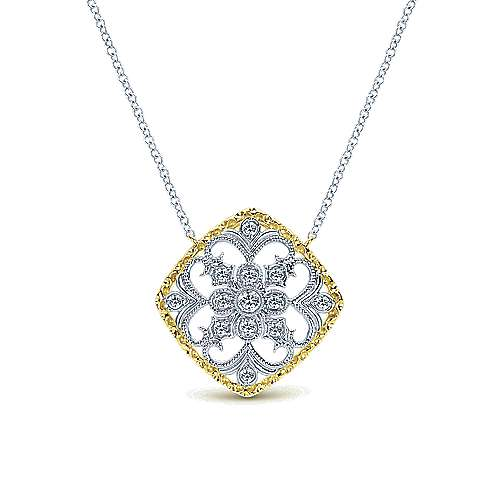 Gabriel - 14k Yellow And White Gold Victorian Fashion Necklace