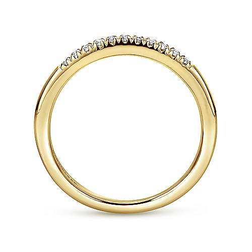 14k Yellow Gold 11 Stone French Pavé Set Band