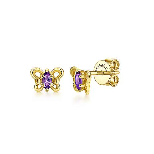 14k Yellow Gold Amethyst Butterfly Stud Earrings