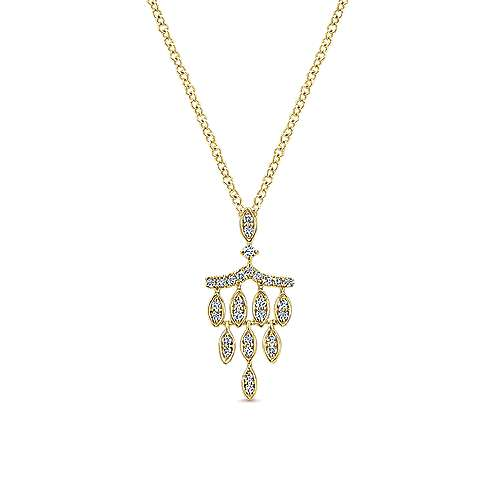 14k Yellow Gold Art Deco Fashion Necklace angle 1
