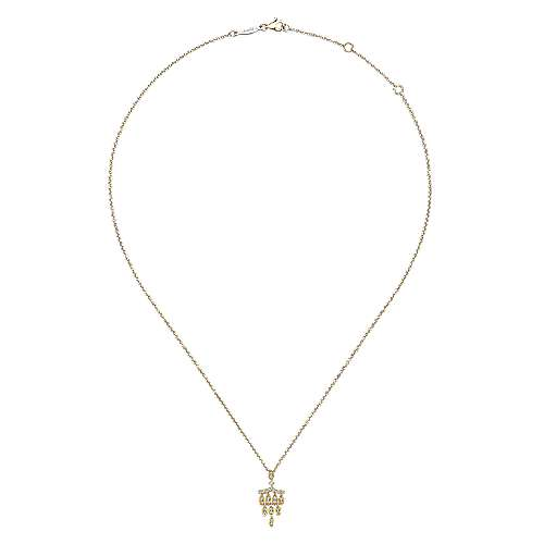 14k Yellow Gold Art Deco Fashion Necklace angle 2