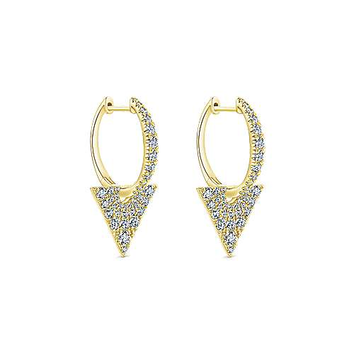 14k Yellow Gold Art Moderne Drop Earrings angle 2