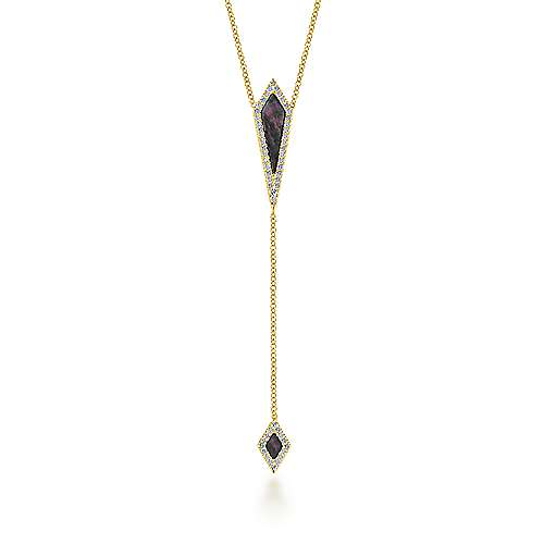 14k Yellow Gold Art Moderne Y Knots Necklace angle 1