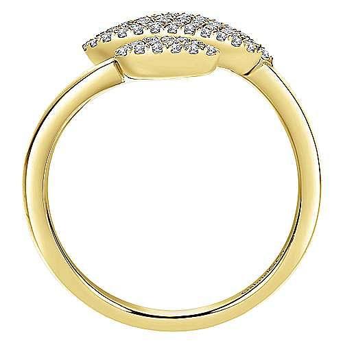 14k Yellow Gold Asymmetrical Open Diamond Cluster Teardrops Ring