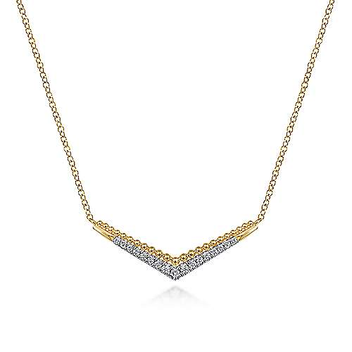 14k Yellow Gold Beaded Chevron Diamond Bar Necklace