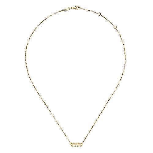 14k Yellow Gold Beaded Diamond Triangle Bar Necklace
