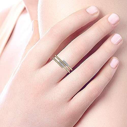 14k Yellow Gold Beaded Fashion Diamond Ladies' Ring