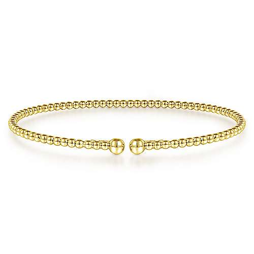 Gabriel - 14k Yellow Gold Beaded Open Bangle Bracelet